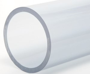 clear pvc pipe tubing on white background