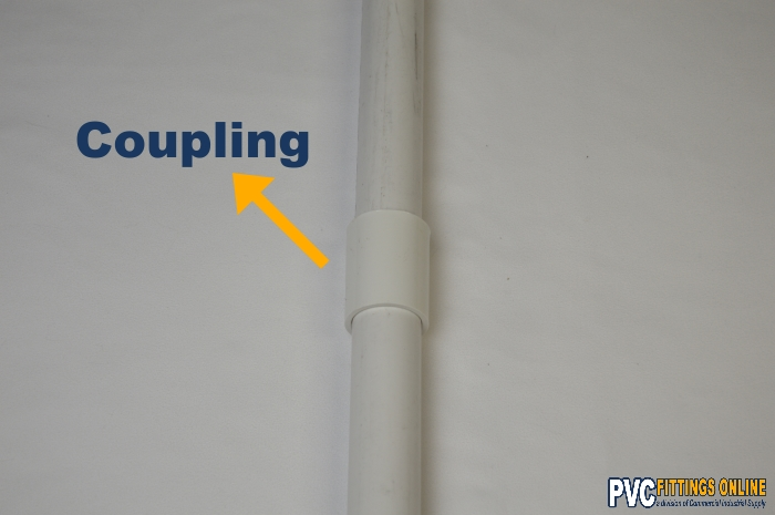schedule 40 pvc coupling fitting connected to pipe