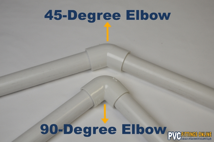 schedule 40 PVC elbow fitting 45 and 90 degree on white background