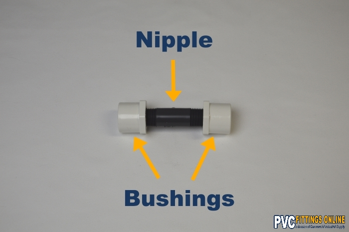 schedule 80 pvc nipple fitting attached to two bushings