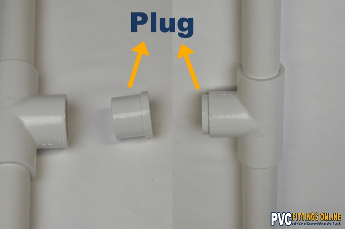 schedule 40 pvc plug fitting in tee with pipe
