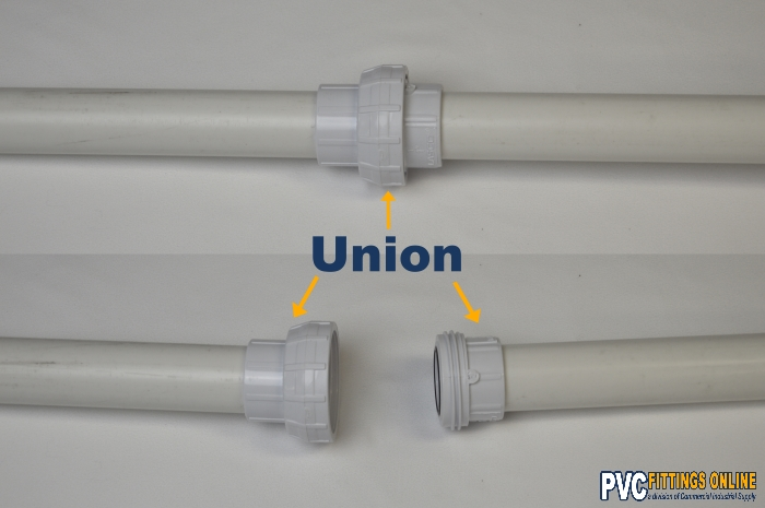 schedule 40 pvc union fitting connected to pipe