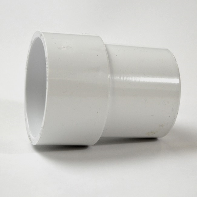 White Pvc Pipe Extender Inside Fitting On White Background