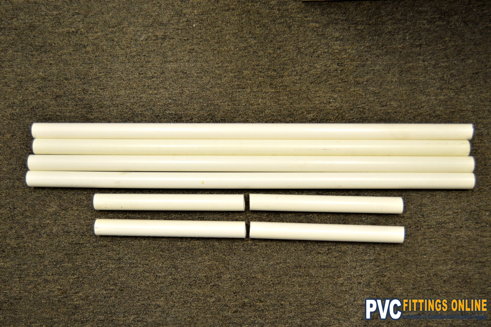 cut pipe for DIY PVC clothes rack