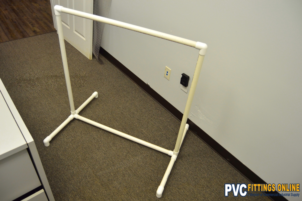 completed DIY PVC clothing rack